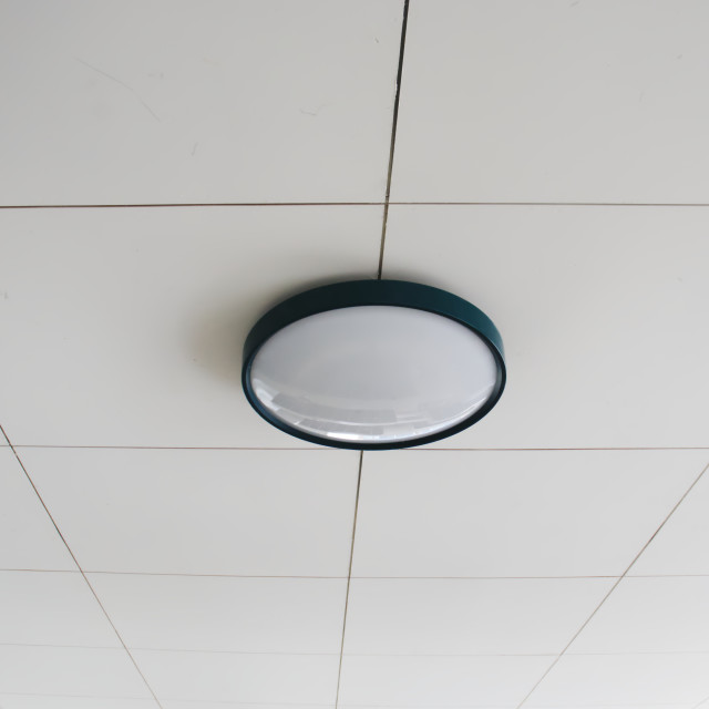 """basic round light on ceiling"" stock image"