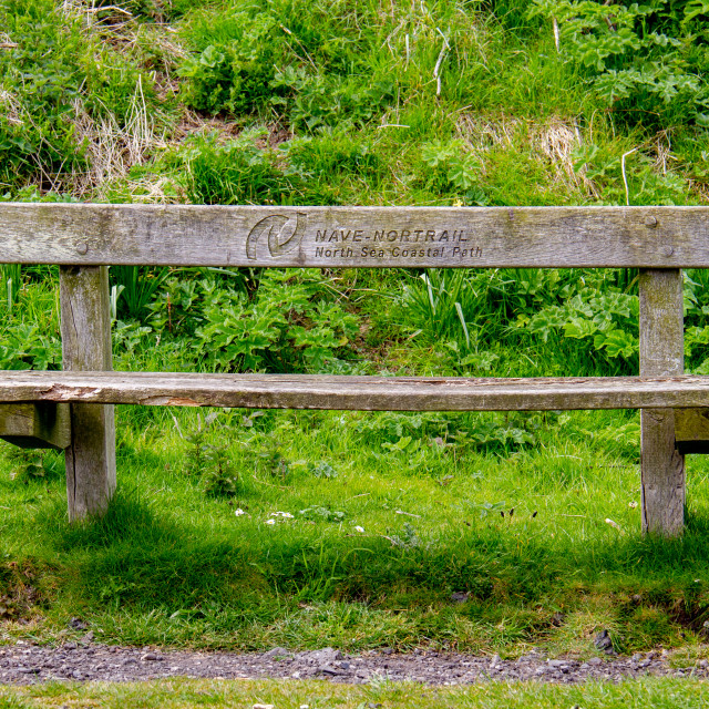 """Bench Engraved Nave Nortrail, North Sea Coastal Path on The North Sea Coastal Path near Robin Hoods Bay."" stock image"