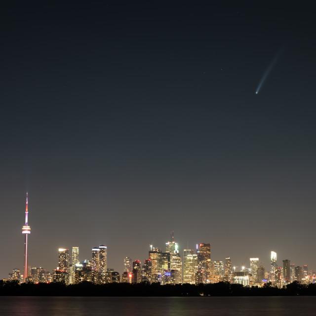"""Comet NEOWISE Flying Over Toronto, Ontario"" stock image"