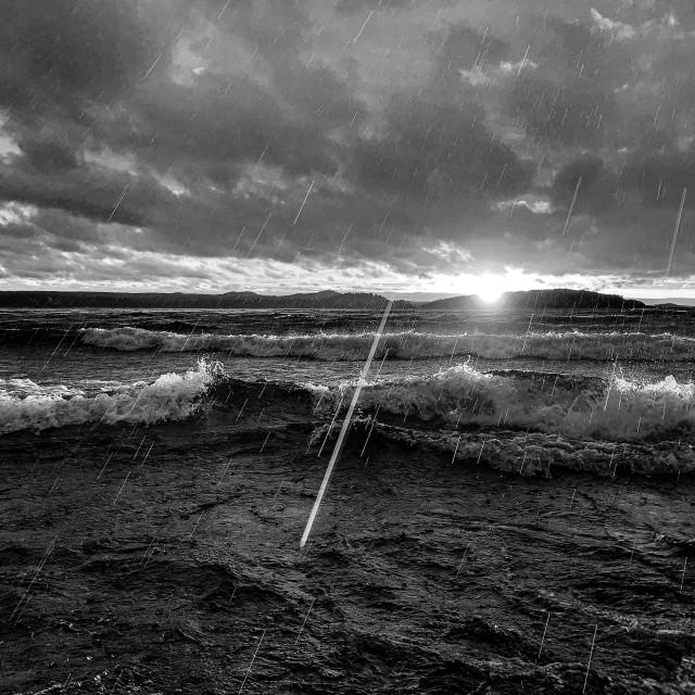 """""""Sunset rain, Lake Superior"""" stock image"""