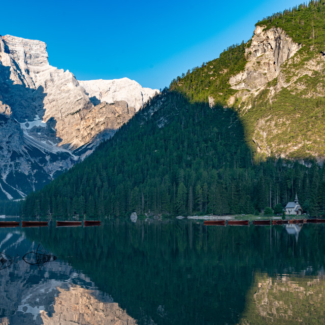 """""""Mountain landscape with reflections on the Braies lake in Val Pu"""" stock image"""