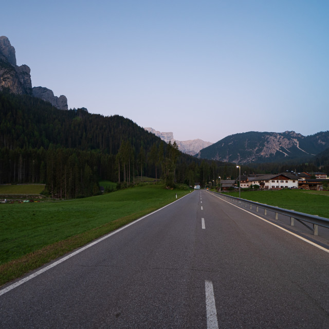 """""""The long road leading to the Braies lake in Val Pusteria"""" stock image"""