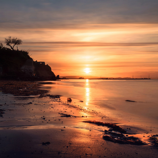 """""""Castle Cove and Sandsfoot Beach Sunrise (Landscape View)"""" stock image"""