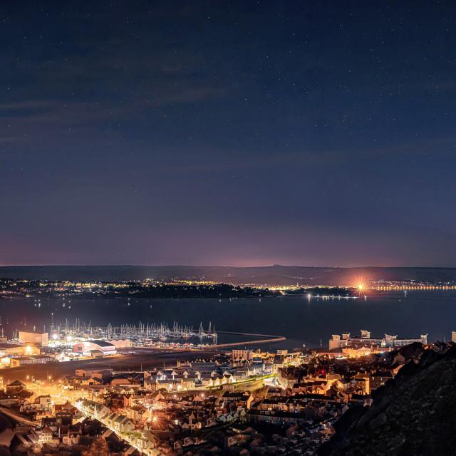 """Comet Neowise over Weymouth and Portland"" stock image"
