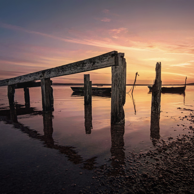 """East Fleet Farm Sunset in Weymouth"" stock image"