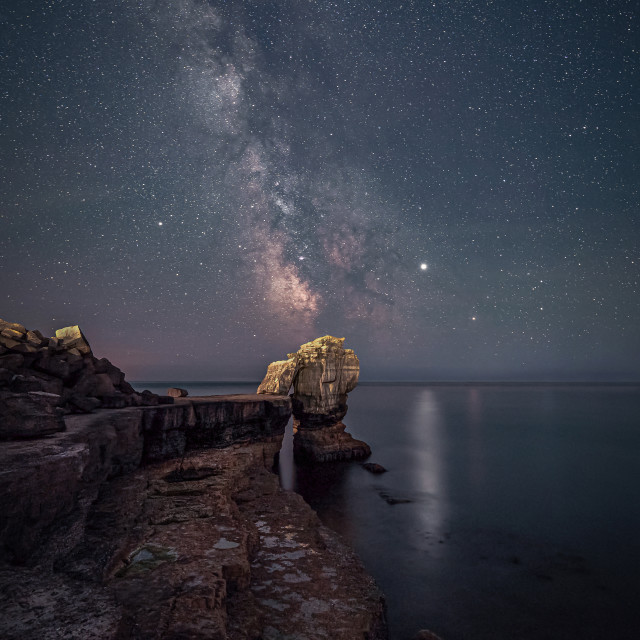 """""""Milky Way over Pulpit Rock at Portland Bill"""" stock image"""
