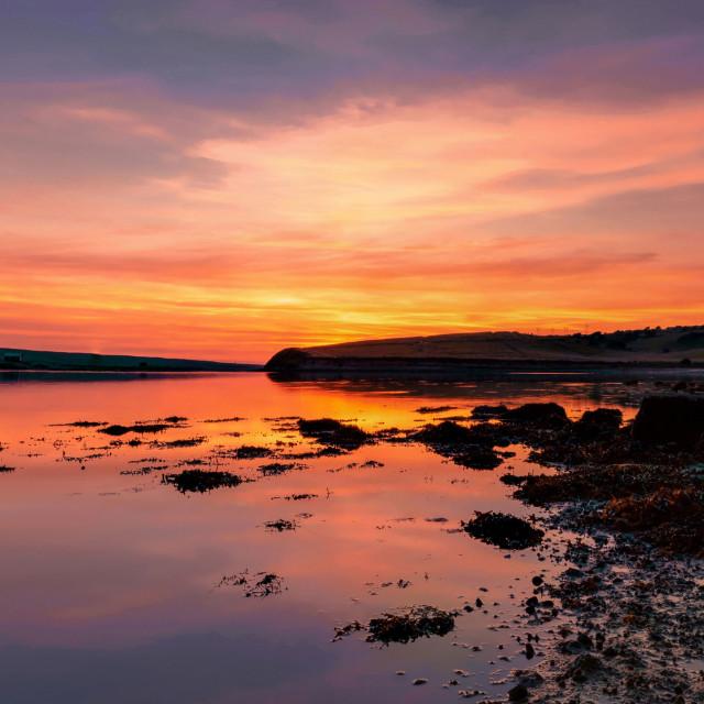 """""""Sunset at Fleet Lagoon in Weymouth"""" stock image"""
