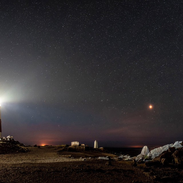 """""""The Milky Way Over Portland Bill Lighthouse and Obelisk"""" stock image"""