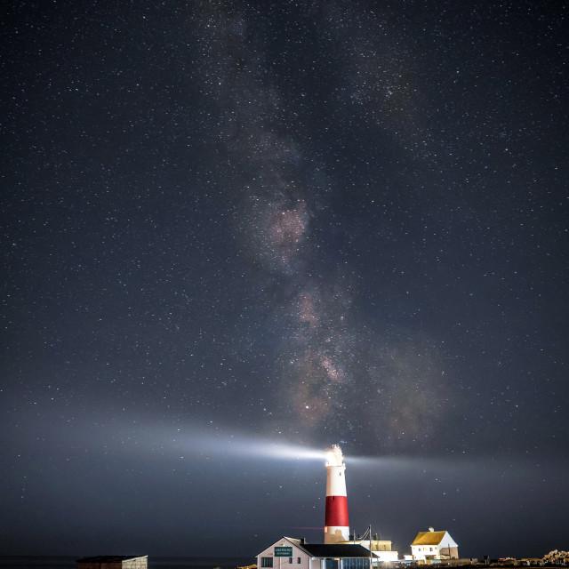 """The Milky Way Over Portland Bill Lighthouse (Portrait)"" stock image"