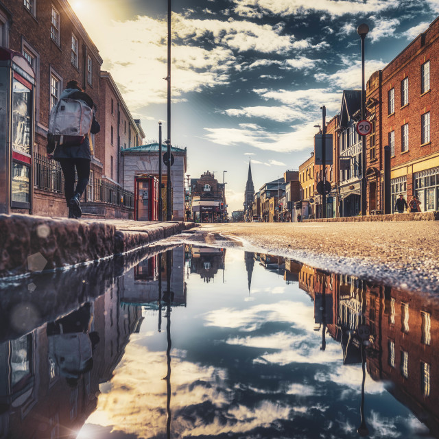 """Reflections from Regent Street, Cambridge UK."" stock image"