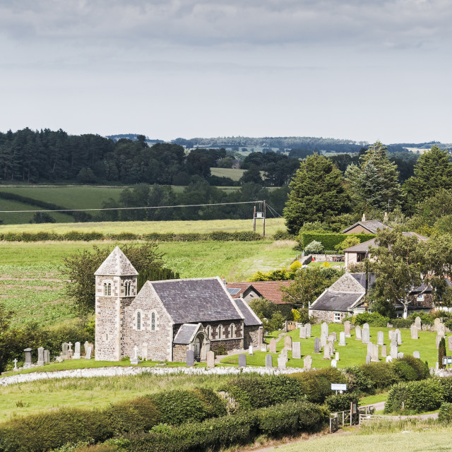 """""""Rural scene with church in Northumberland, UK"""" stock image"""