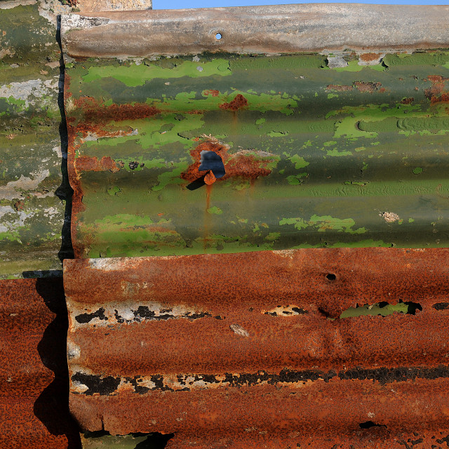 """Corrugated fencing, Valentia Island"" stock image"