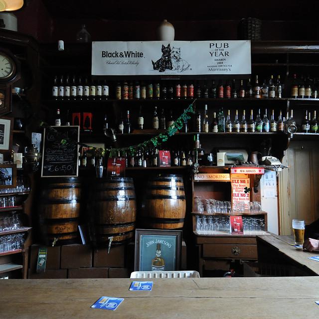 """Social distancing at Morrissey's Pub, Abbeyleix"" stock image"