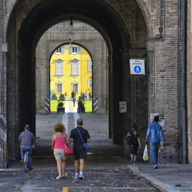 """""""Street scene in Parma, Italy"""" stock image"""