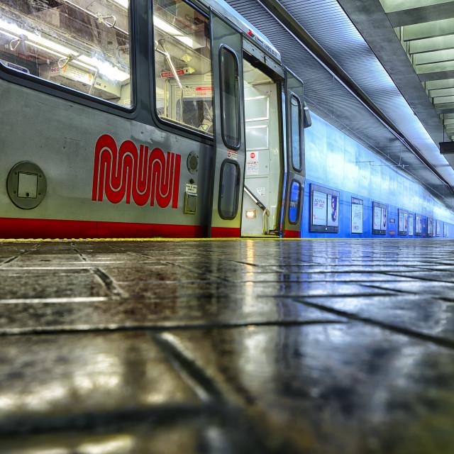 """Muni train at the platform"" stock image"