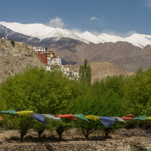"""Spituk monastery seen from the bridge on Indus"" stock image"