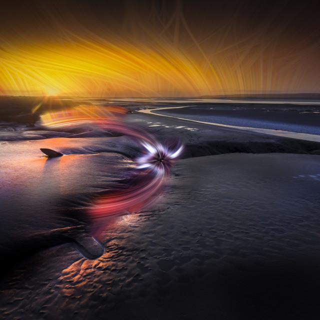 """Impressionistic take on the Loughor estuary"" stock image"