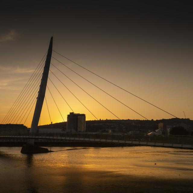 """Sunset over Swansea Sail Bridge"" stock image"
