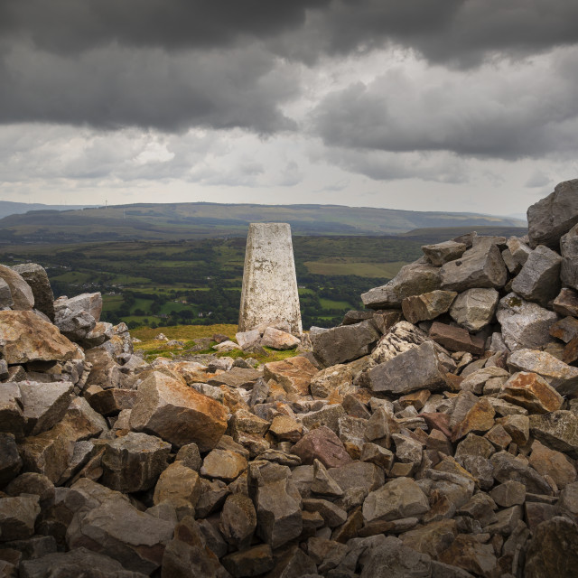"""The Sleeping Giant's trig point"" stock image"