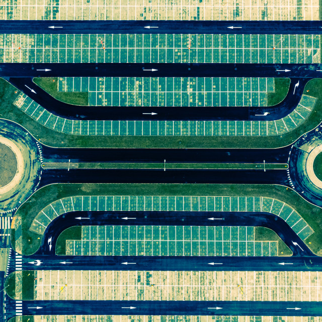 """""""Aerial top down view of empty parking lot"""" stock image"""