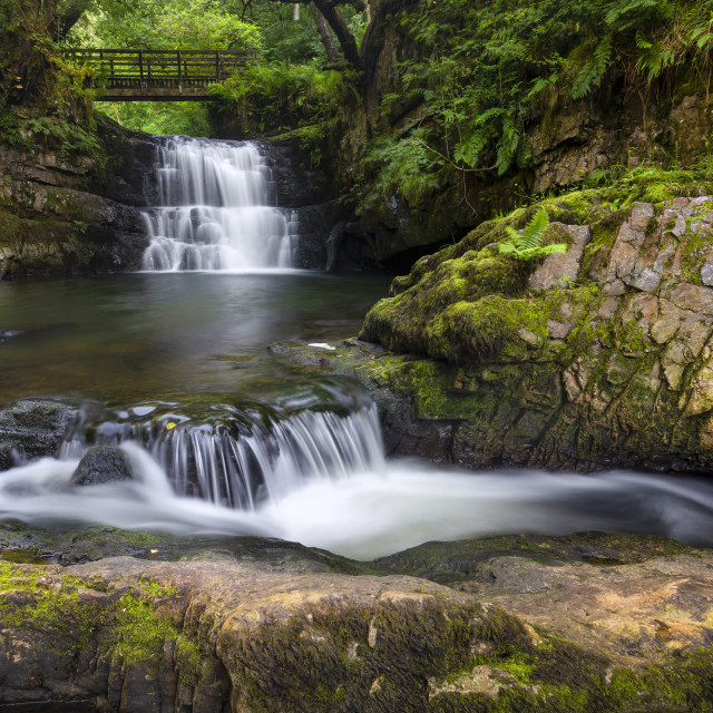 """The waterfall behind Dinas Rock"" stock image"