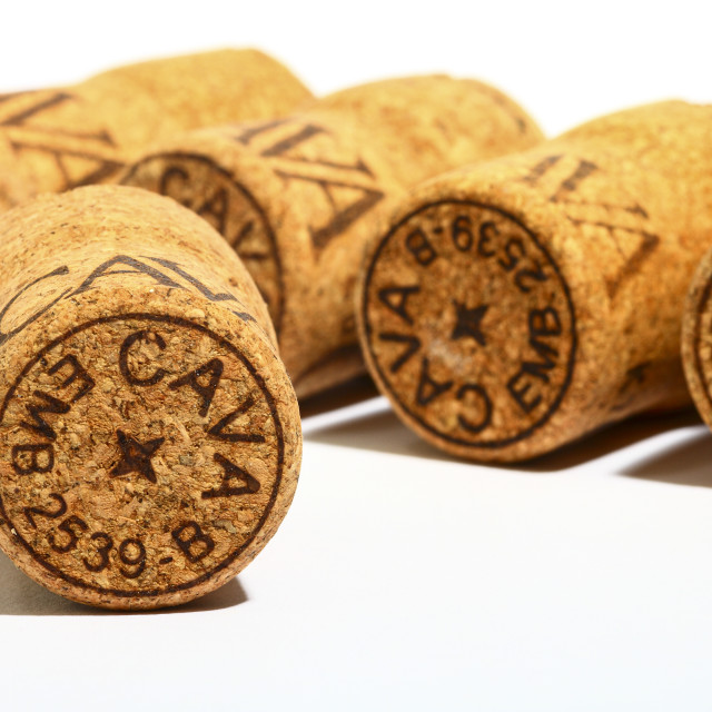 """Cava wine cork stoppers isolated on a white background"" stock image"