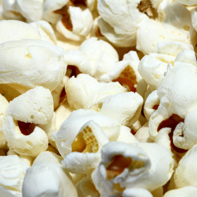 """""""Close up view of freshly made popcorn"""" stock image"""