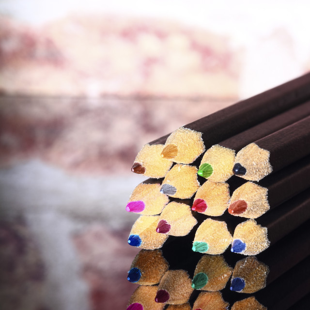 """""""Colouring pencils on a glass table top"""" stock image"""