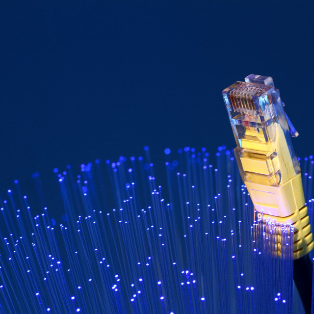 """""""Fibre optic strands with a ethernet lan broadband cable,"""" stock image"""