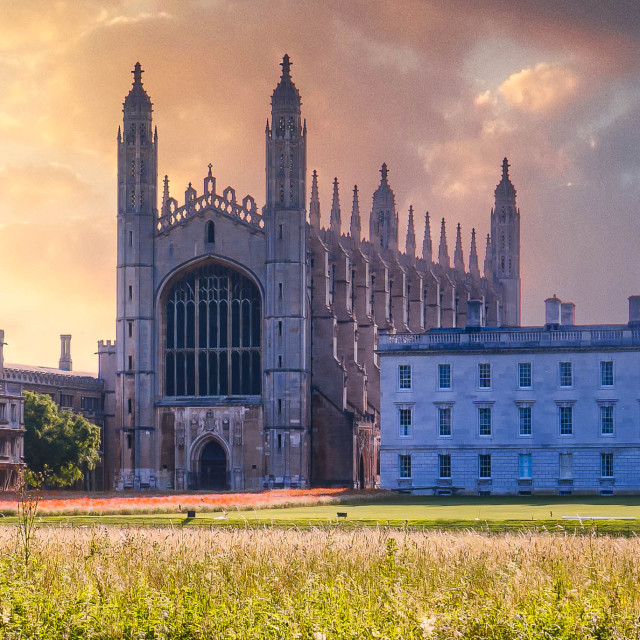"""""""Sunrise over King's College Chapel."""" stock image"""