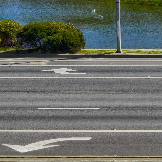 """""""Jogger runs by a lake"""" stock image"""