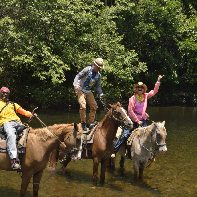 """""""group of riders in a river"""" stock image"""