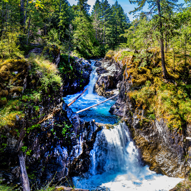 """Little Qualicum River Upper Falls"" stock image"