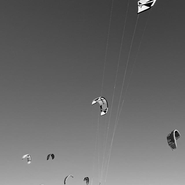 """Go Ride a Kite - Kite surfing, Long Beach CA"" stock image"