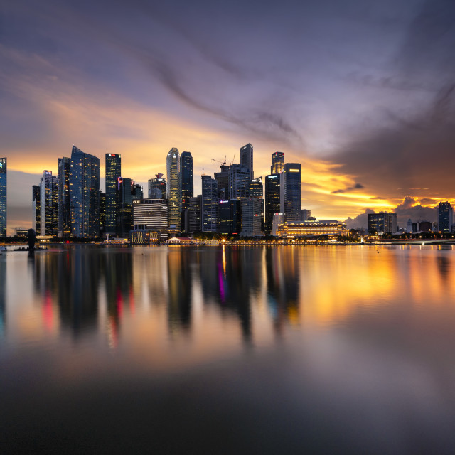 """""""Fiery Sunset over Singapore Downtown"""" stock image"""