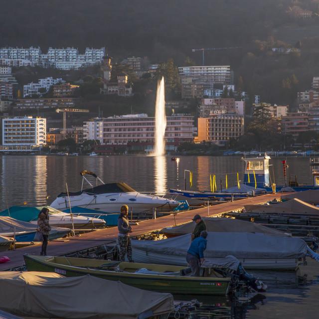 """""""Lugano, Lake Lugano, Switzerland"""" stock image"""
