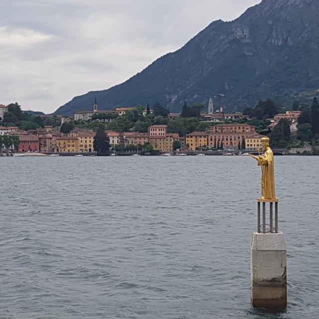 """Golden Saint Nicholas Statue, Lecco, Italy"" stock image"