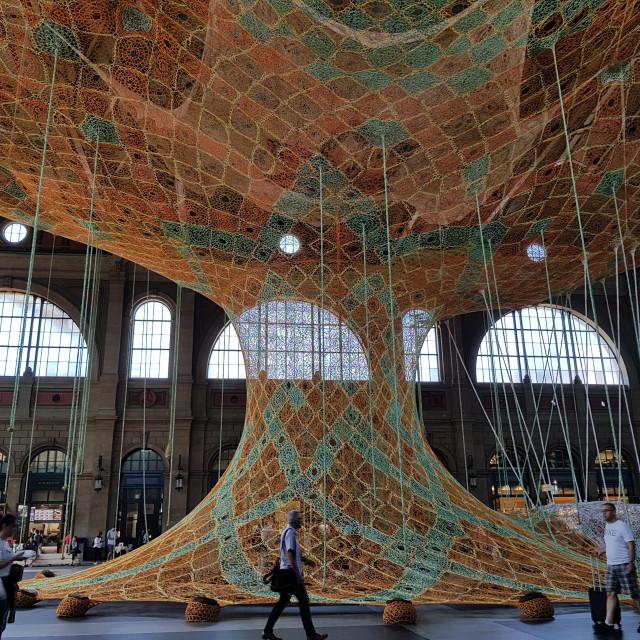 """Tree-like art installation, Zurich Railway Station"" stock image"