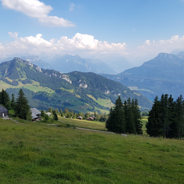 """Swiss Mountain Landscape near Scheidegg (Rigi)"" stock image"