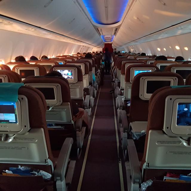 """""""Garuda Indonesia Boeing 737 Interior"""" stock image"""