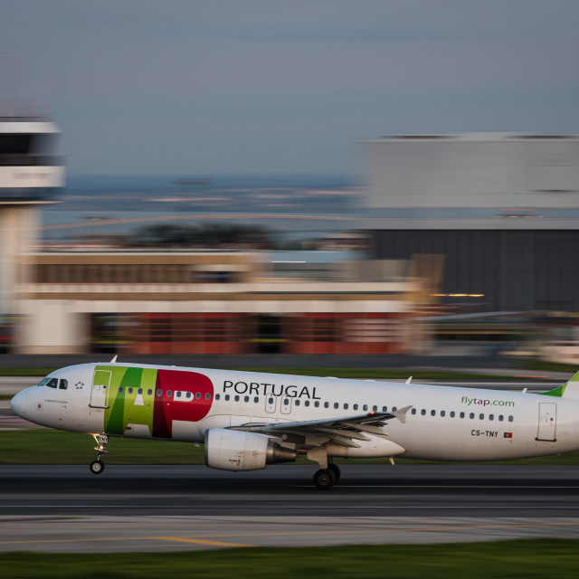 """Airliner Airbus A320 of TAP Air Portugal about to take off"" stock image"