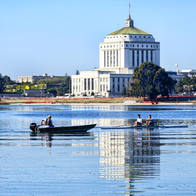 """""""Boating on Lake Merritt"""" stock image"""