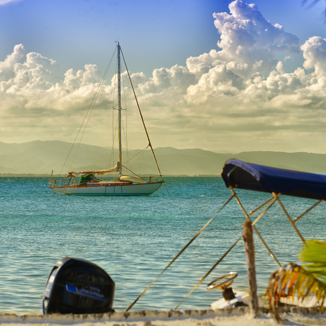 """""""Sailboat in the caribbean"""" stock image"""