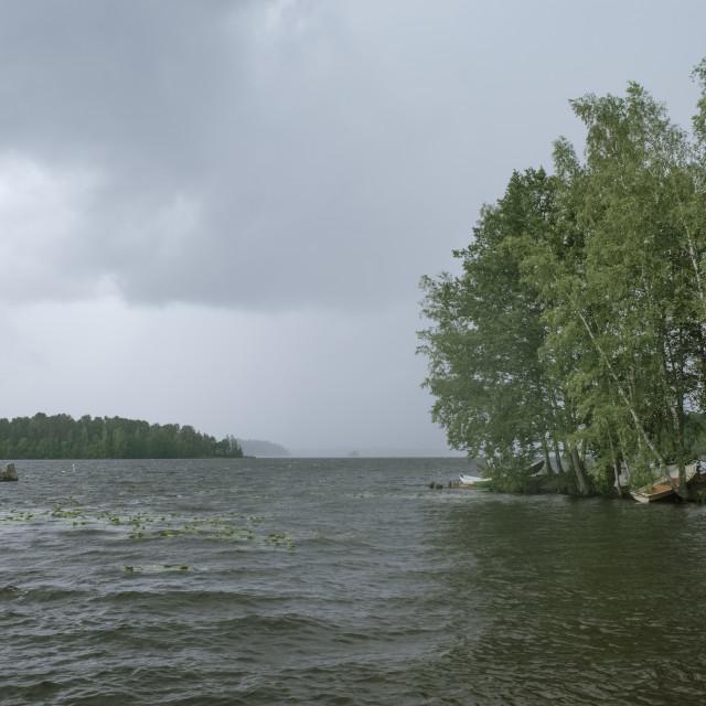 """Lake Pyhä At Rain IV"" stock image"
