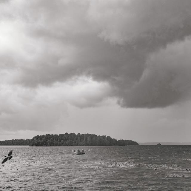 """""""Lake Pyhä At Rain III"""" stock image"""