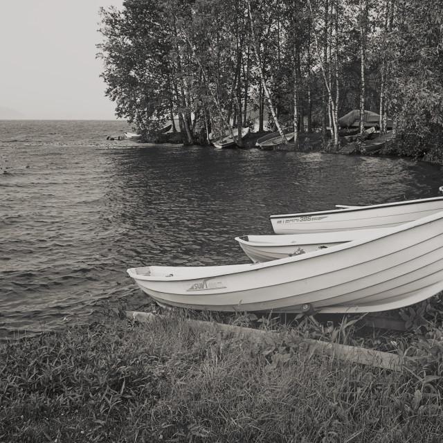 """""""Rowing Boats At Rain"""" stock image"""