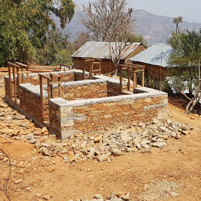 """Building under construction, Gorkha District, Nepal"" stock image"