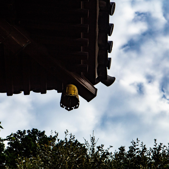 """Japanese Temple Bell with hearts on it"" stock image"