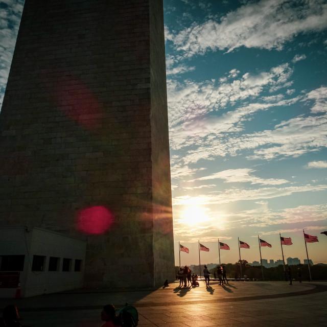 """""""The Washington Monument at Sunset"""" stock image"""
