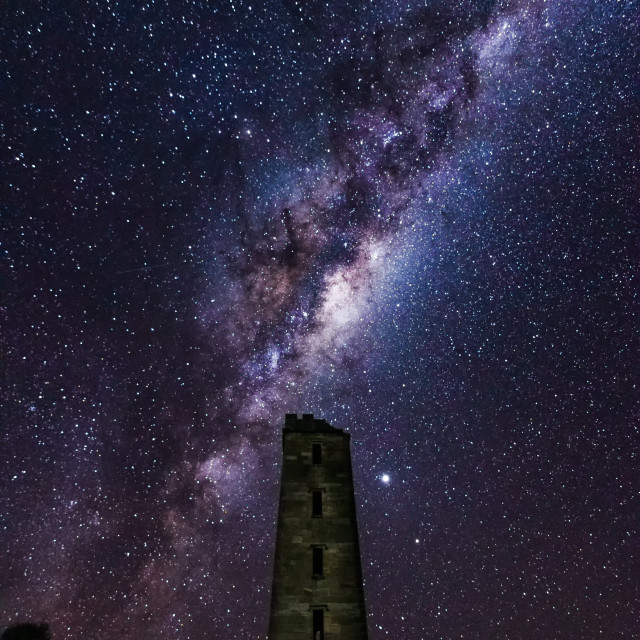 """""""Boyds Tower and the Milky Way"""" stock image"""